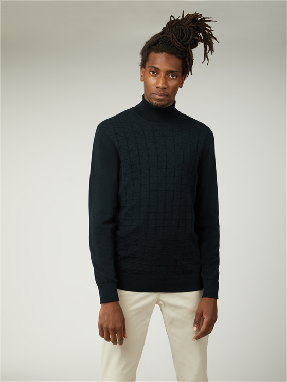 Textured Front Roll Neck