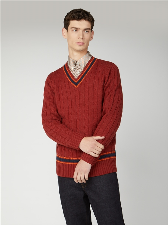 Cricket Cable V Neck Jumper