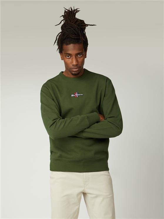 Camo Green Brushed Pique Logo Sweatshirt