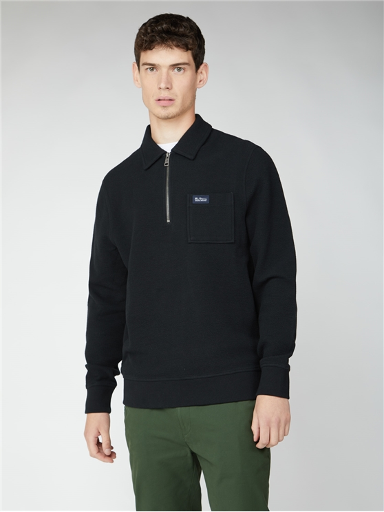 Fabric Interest Zip Neck