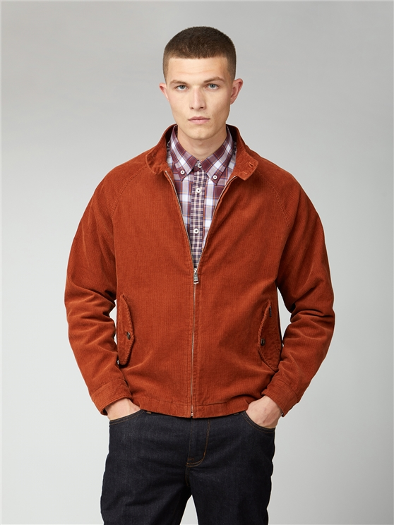 Ben Sherman Burnt Orange Cord Harrington Jacket