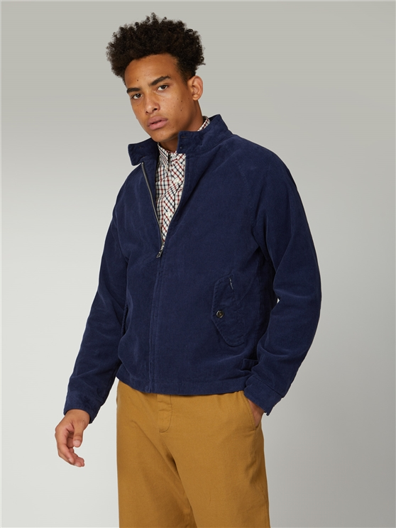 Ben Sherman Navy Blue Cord Harrington Jacket