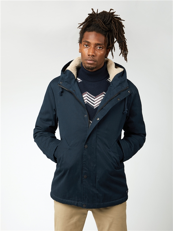 Ben Sherman Dark Blue Cropped Hooded Parka