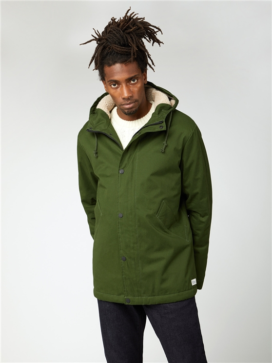 Ben Sherman Camo Green Cropped Hooded Parka