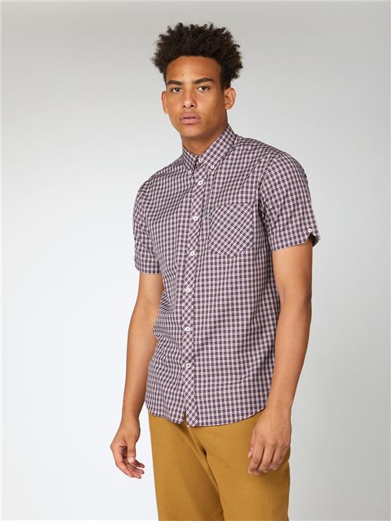 Casual Short Sleeve Mini Check Mod Shirt