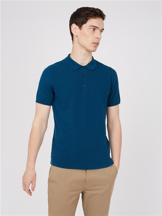 Blue Textured Knitted Polo