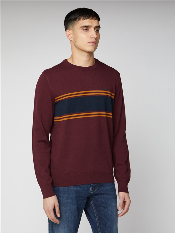 Ben Sherman Stripe Chest Crew Neck Jumper