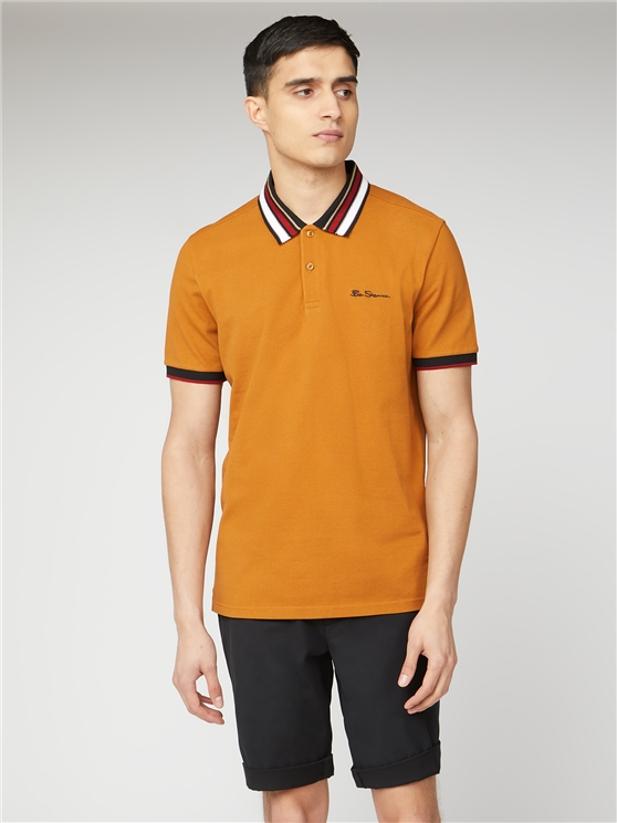 Gold Pique Polo with Striped Collar