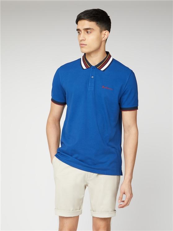 Blue Pique Polo with Striped Collar