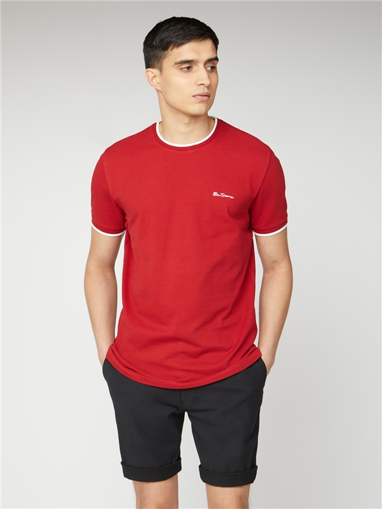 Red Pique T-Shirt With Tipping