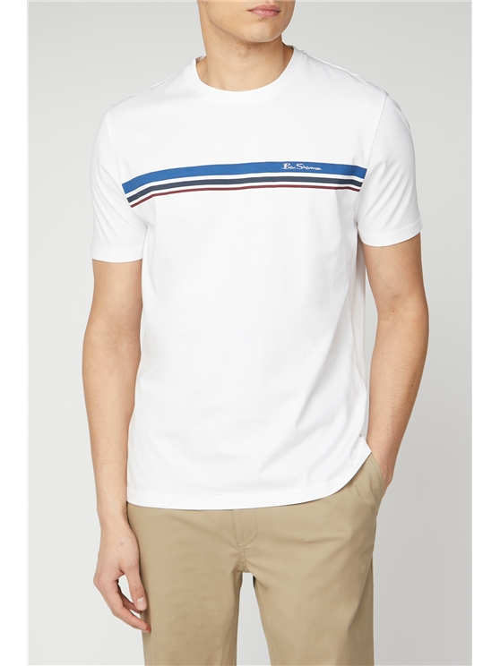 Men's White Sport Stripe Tee