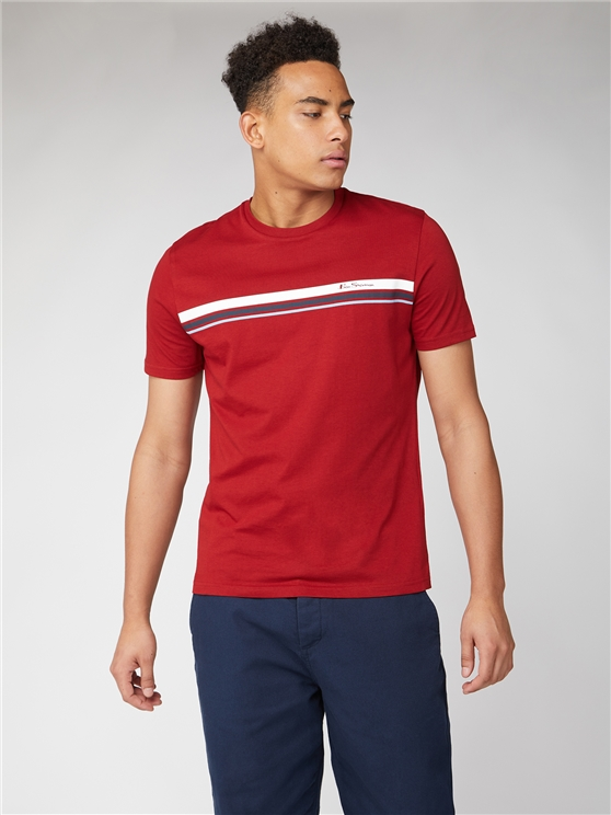 Men's Red Sport Stripe Tee