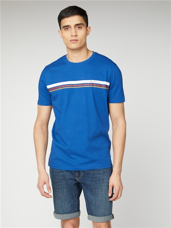 Men's Blue Sport Stripe Tee