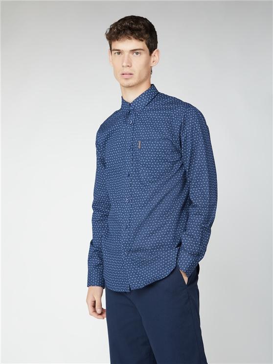 Long Sleeve Geo Circle Print Shirt