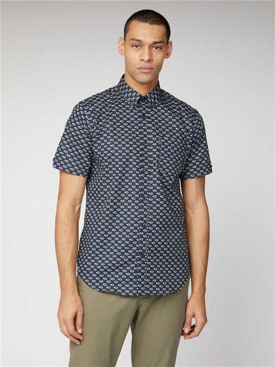 Short Sleeve Flag Print Shirt