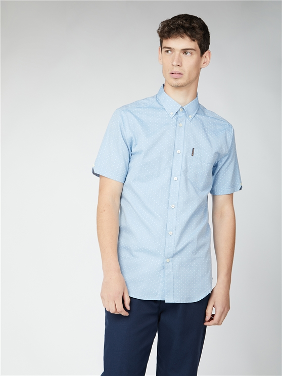 Blue Short Sleeve Polka Dot Shirt