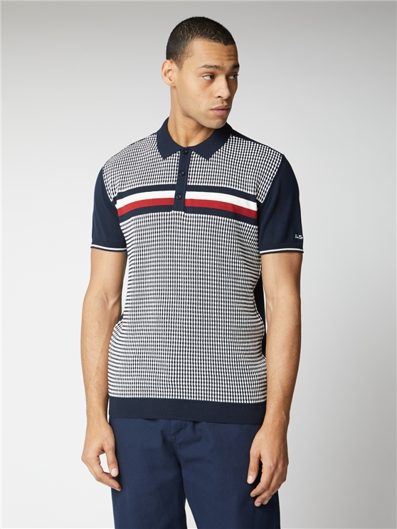 Stripe Chest Knitted Polo