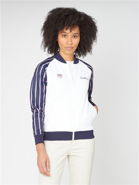 Team GB Women''s Union Stripe Tricot Bomber