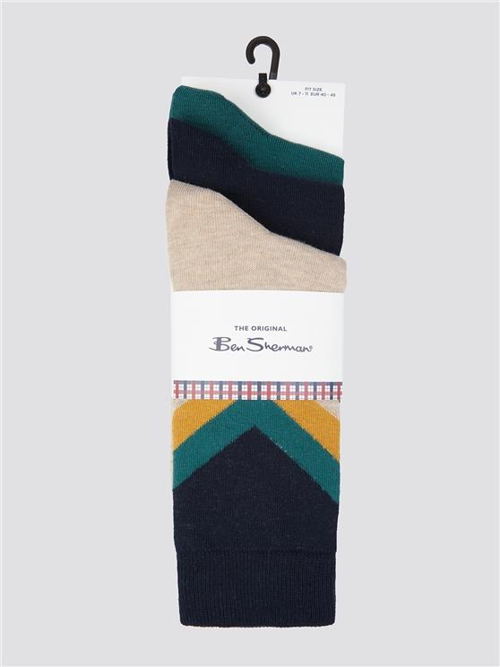 Ben Sherman 3 Pack of Plain and Chevron Socks