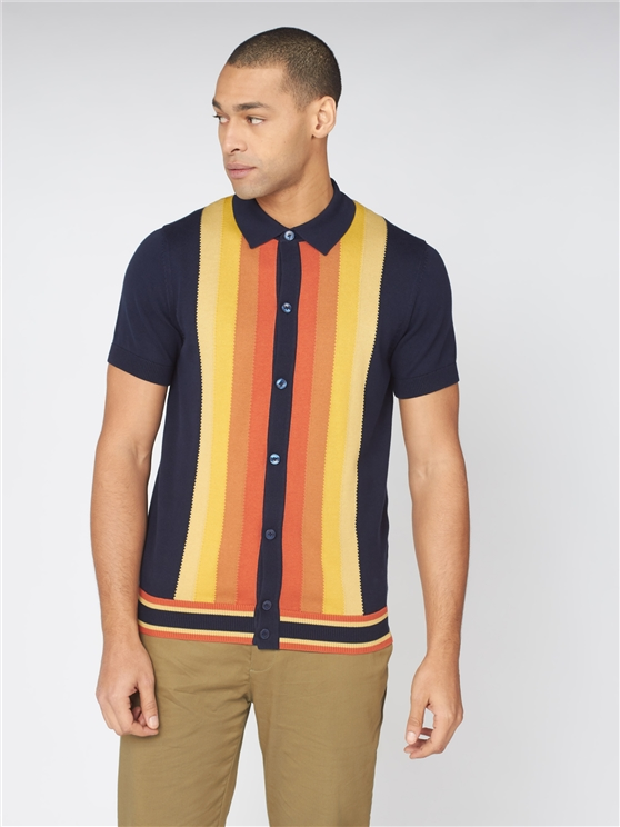 Button Through Mod Polo Shirt
