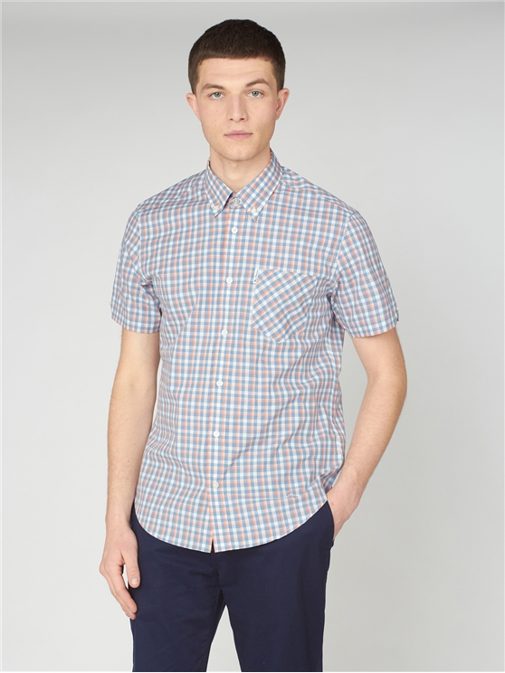Mini Gradient Blue & Red Check Shirt