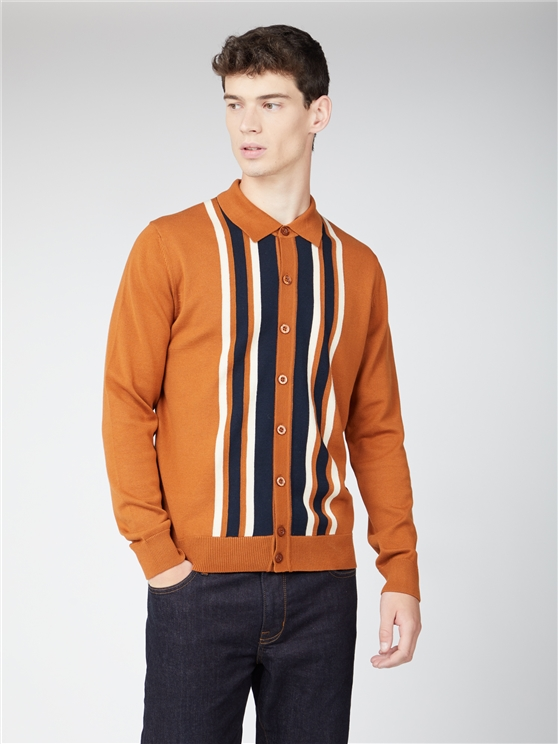 Button Through Stripe Knit Polo