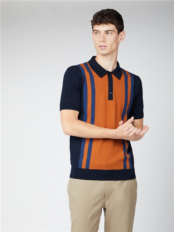 Mod Stripe Short Sleeve Polo Knit