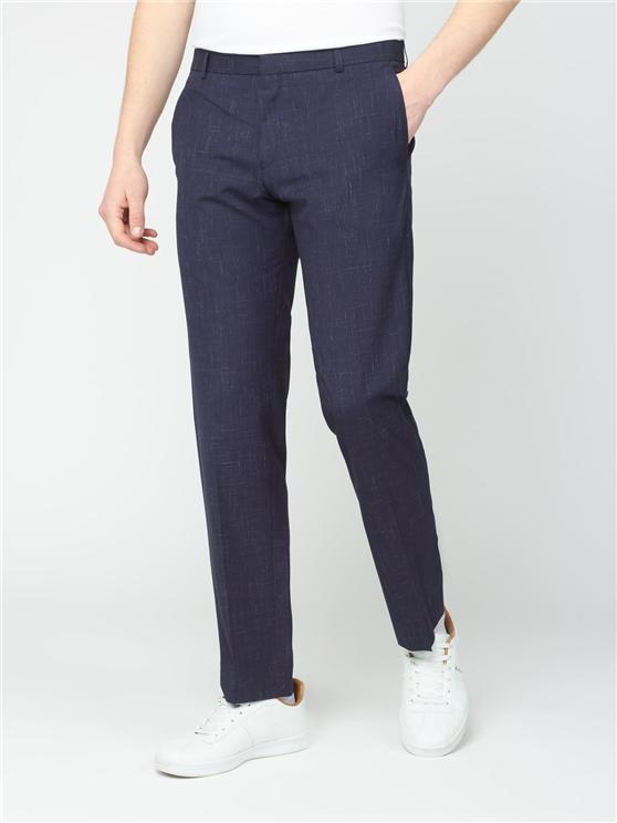 Midnight Navy Fleck Slim Fit Trousers