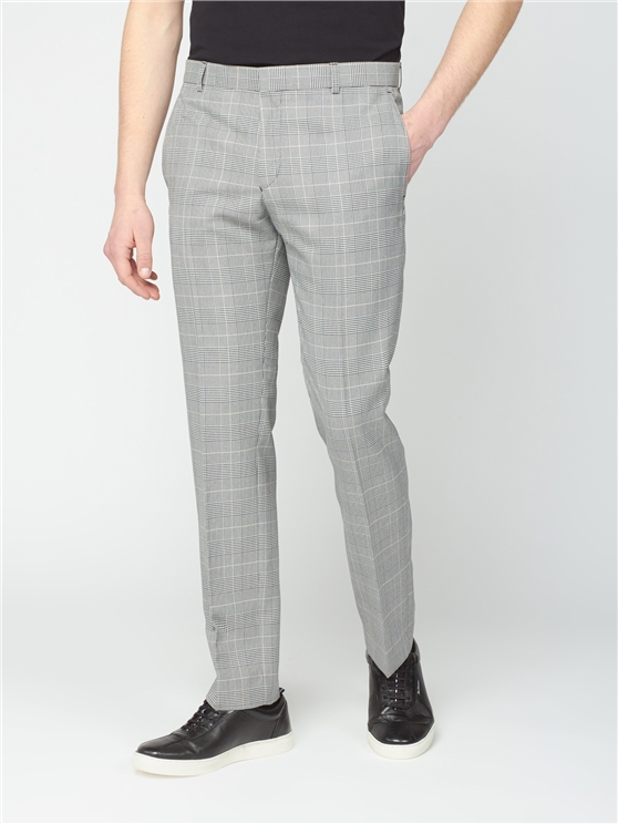 Grey Pink Prince of Wales Check Slim Fit Trouser