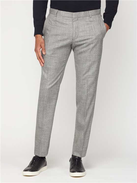 Grey Twist Structure Slim Fit Trousers