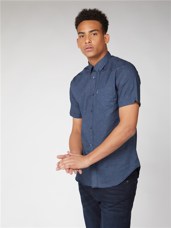 Short Sleeve Semi Plain Geo Shirt