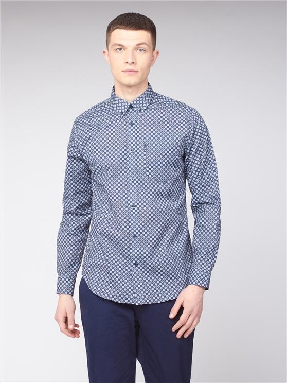 Long Sleeve Geometric Circle Print Shirt