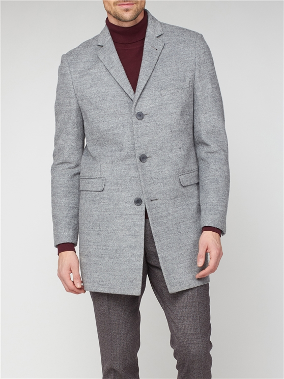 Grey 3 Button Crombie Overcoat