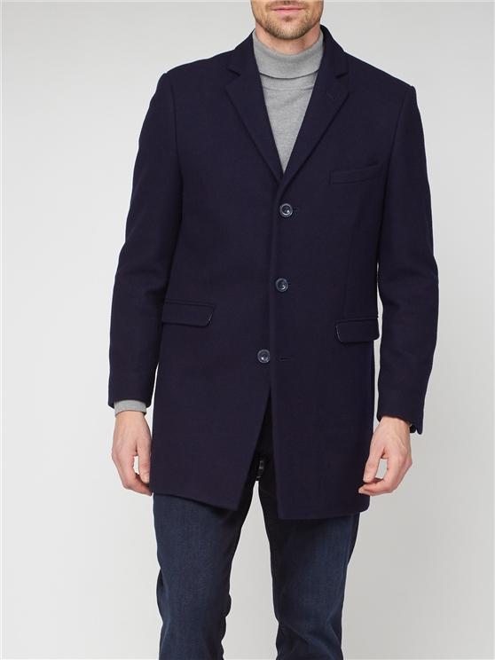 Navy 3 Button Crombie Overcoat