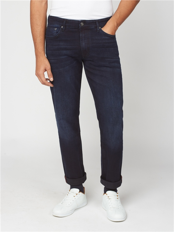 Blue Black Denim Straight Jean