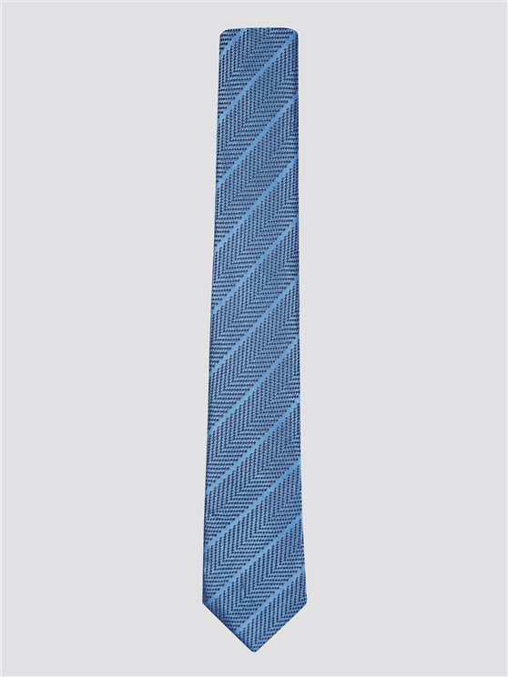 Sky Blue Self Stripe Silk Tie