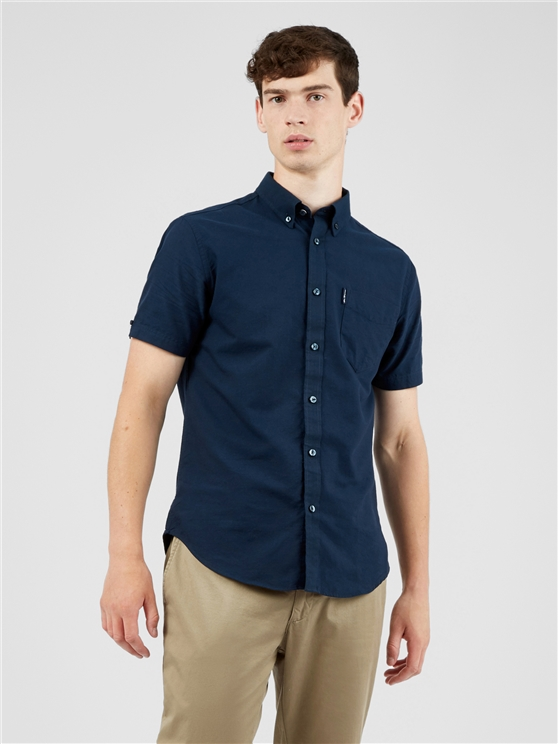 Organic Navy Cotton Oxford Shirt