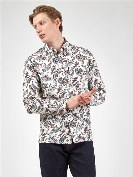 Large Ivory Paisley Print Long Sleeved Shirt