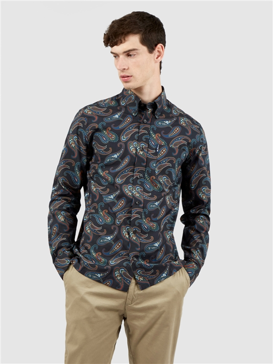Large Midnight Paisley Print Long Sleeved Shirt