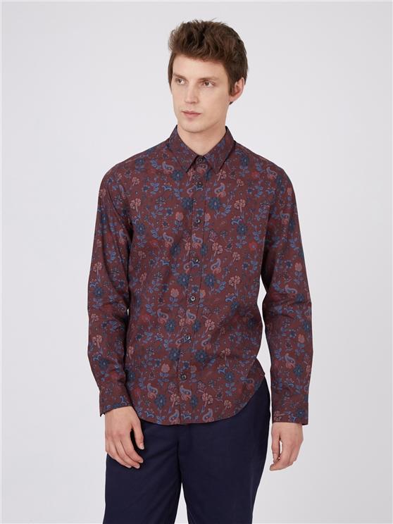Bordeaux Retro Floral Long Sleeved Shirt