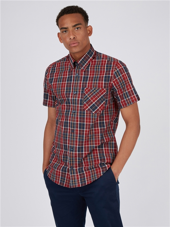 Red Tartan Checked Short Sleeved Shirt