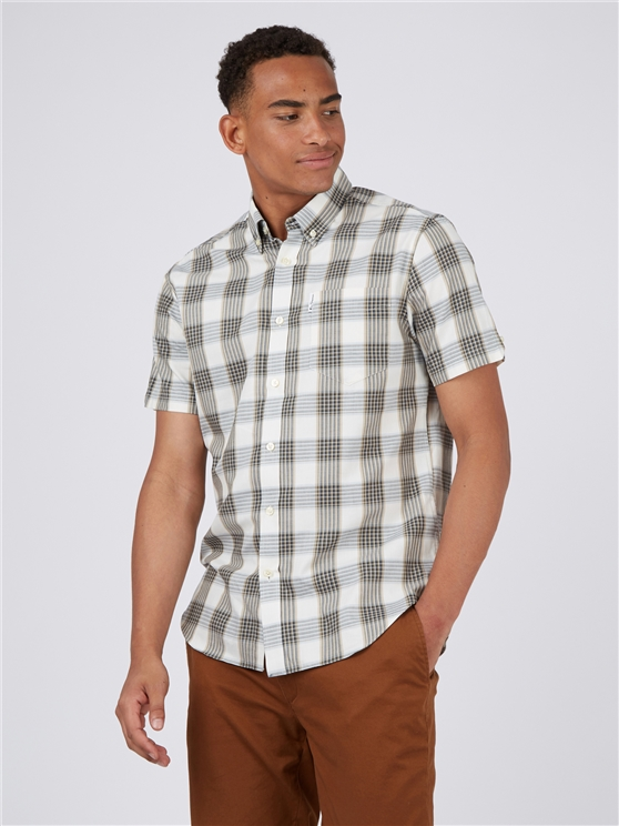 Ivory Twill Checked Short Sleeved Shirt