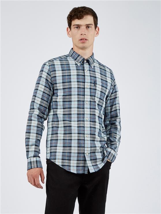 Light Blue Striped Checked Long Sleeved Shirt