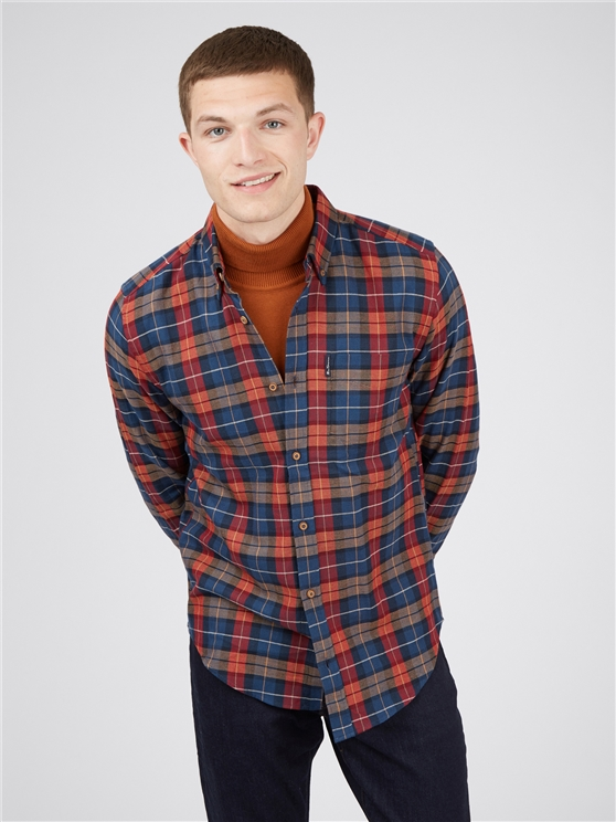 Camel Striped Checked Long Sleeved Shirt