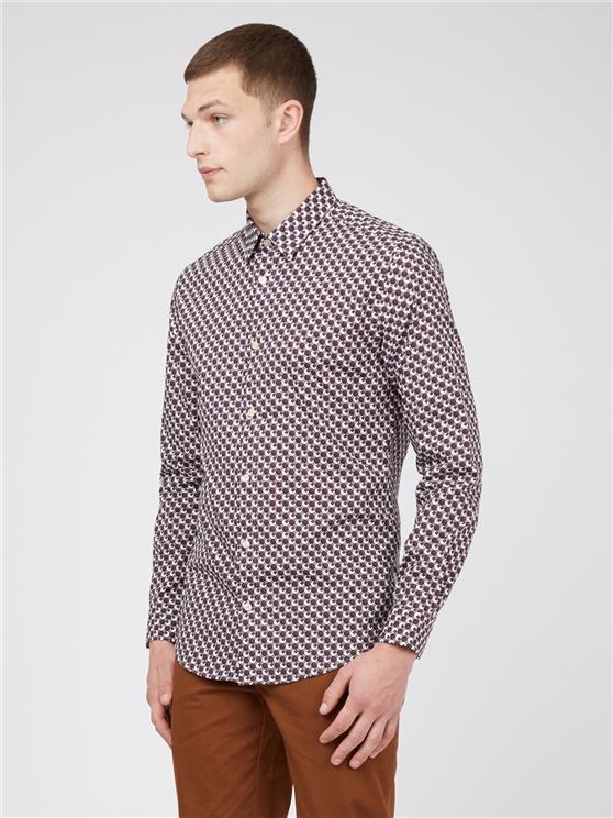 Retro 70's Coffee Geometric Print Long Sleeved Shirt