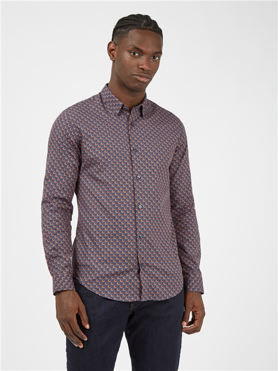Retro 70's Caramel Geometric Print Long Sleeved Shirt