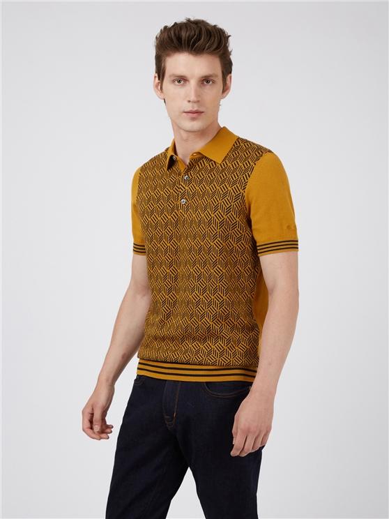 Mustard Knit Jacquard Polo Shirt