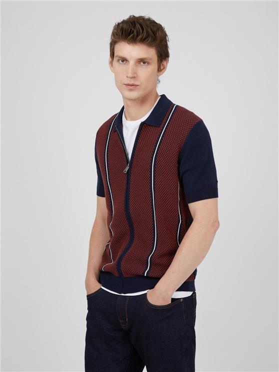 Jacquard Zip Through Polo Shirt