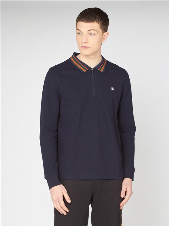 Midnight Long Sleeved Zip Polo Shirt