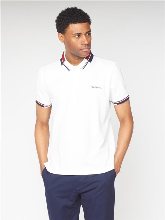 White Colour Block Collar Pique Polo Shirt